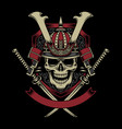 samurai warrior skull with crossed katana swords vector image vector image
