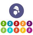 santa claus hat and beard set icons vector image vector image