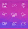 seo icons line style set with likes with share vector image