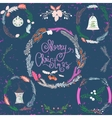 set christmas and new year wreath and other vector image