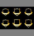 set golden shields with ribbon vector image vector image