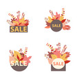 set of discount autumn stickers vector image vector image