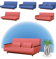 Sofa pink and blue vector image vector image