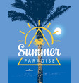 summer travel banner with seascape palm and ship vector image vector image