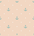 tile sailor pattern with blue anchor and dots vector image vector image
