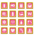 water icons set pink square vector image vector image