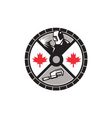 Welder Caliper Maple Leaf Circle Retro vector image vector image