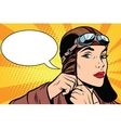 woman retro military pilot vector image