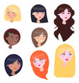 women faces set with long and short hairstyles vector image vector image