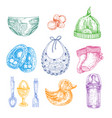 baby newborn clothing in hand drawn style isolated vector image