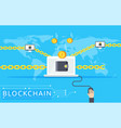 blockchain in flat style vector image