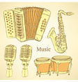 Sketch musical instrument in vintage style vector image