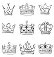 art crown various sketch vector image vector image