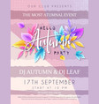autumn party poster with hand drawn vector image vector image