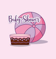 baby shower card with cake and balloon vector image