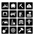 Black Mining and quarrying industry icons vector image