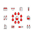 blood donation icon set isolated on white vector image vector image