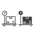 box on storage scale line and glyph icon logistic vector image vector image