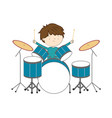 boy playing drums isolated on white background vector image