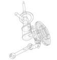 car dampers with brake disc outline vector image