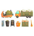 carbage truck and bins with decaying waste vector image
