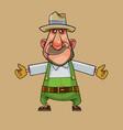 cartoon gardener man is spreading his arms in vector image vector image
