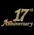 celebrating 17th anniversary golden sign with vector image vector image