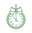 christmas clock frame bow ribbon decoration vector image vector image