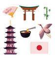 collection of japanese culture symbols icons vector image vector image