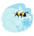 cute bumblebee leaves trace in shape heart vector image