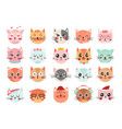 cute cats faces cat heads emoticons kitten face vector image vector image