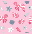 cute seamless pattern with sea animals vector image