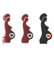 destructed pixel halftone pregnant female icon vector image