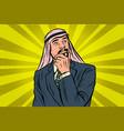 elderly arab businessman thinker pose vector image vector image