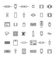 electronic and radio components from thin line vector image