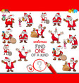 find one of a kind game with santa characters vector image vector image