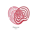 Fingerprint Red Heart Isolated On White Background vector image vector image