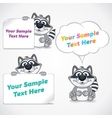 Funny Cartoon Raccoon with Blank Paper Banners vector image vector image