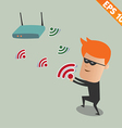 Hacker sniff wireless network - - EPS10 vector image vector image