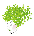 Hair with green leaves- Organic hair product logo vector image