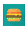 hamburger icon with long shadow flat style vector image