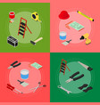 home repair banner card set isometric view vector image vector image