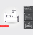 hospital bed line icon with editable stroke vector image vector image