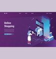 isometric online shopping landing page web concept vector image