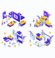 isometric set concept for education vector image vector image