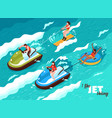 jet skiing isometric poster vector image vector image