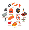 karting equipment icons set isometric style vector image vector image