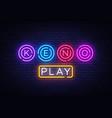 keno logo keno lottery neon sign design vector image vector image