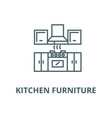 kitchen furniture line icon linear concept vector image vector image
