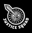logo squad of justice sword in hand sticker vector image vector image